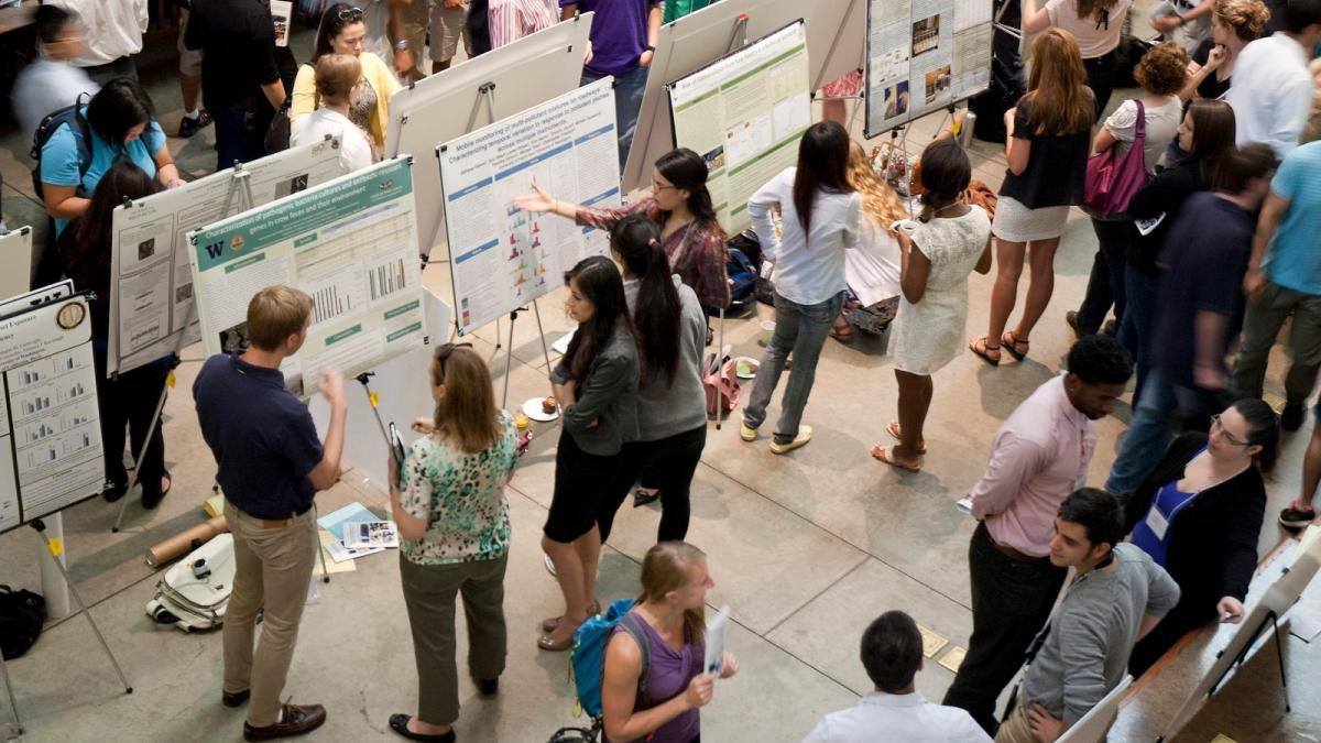 Arial shot of student poster session