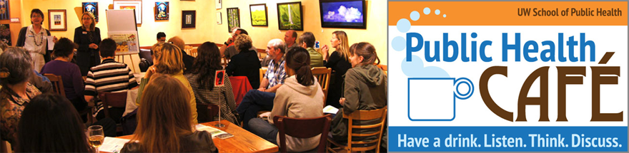 People attend a Public Health Cafe event (left). The Public Health Cafe logo (right).