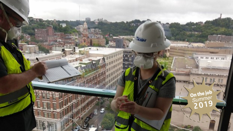 Hannah on-site for her summer internship