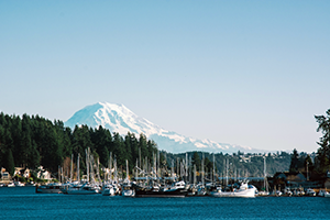 Abstracts. Photo of Mt.Rainier and boats.
