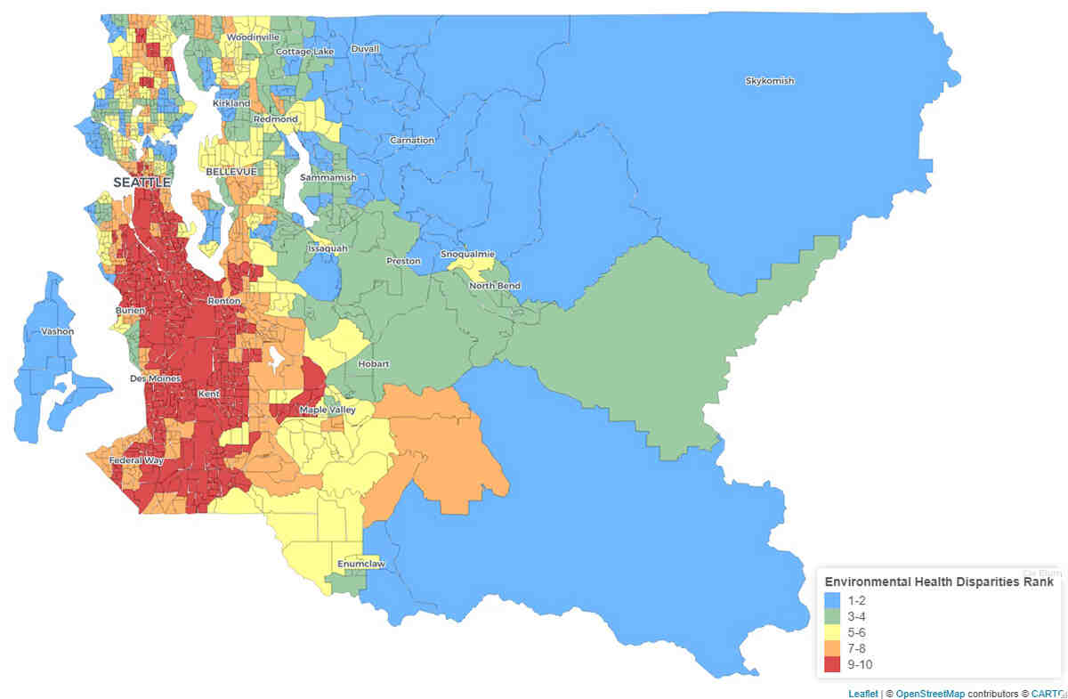 Map of environmental health disparities rank for census tracts in King County, with the highest environmental health disparities clustered in South King County.