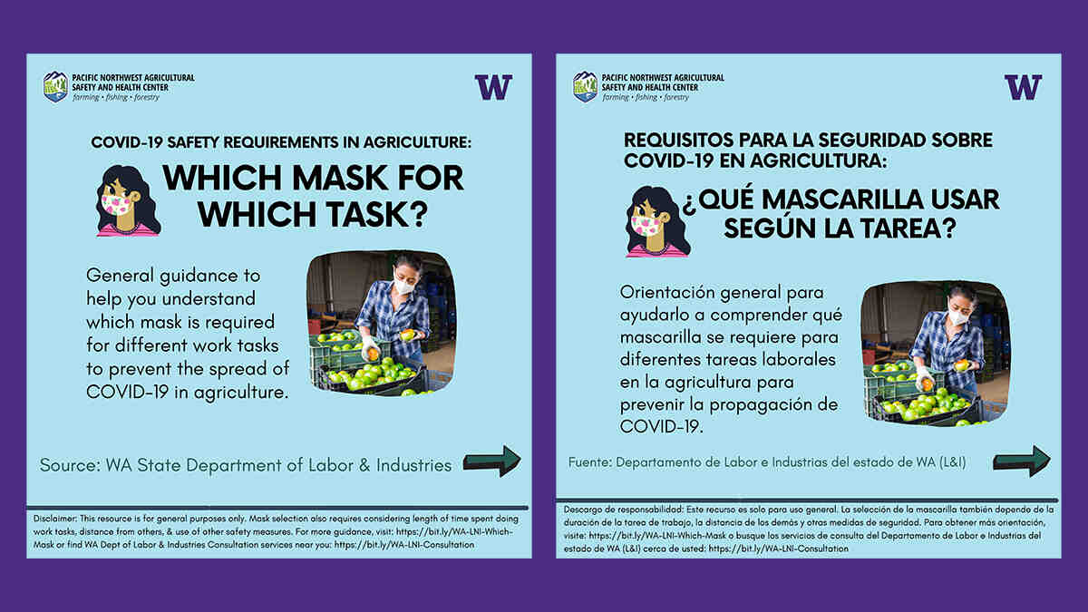 "English and Spanish versions of a social media post titled ""Which Mask for Which Task?"""
