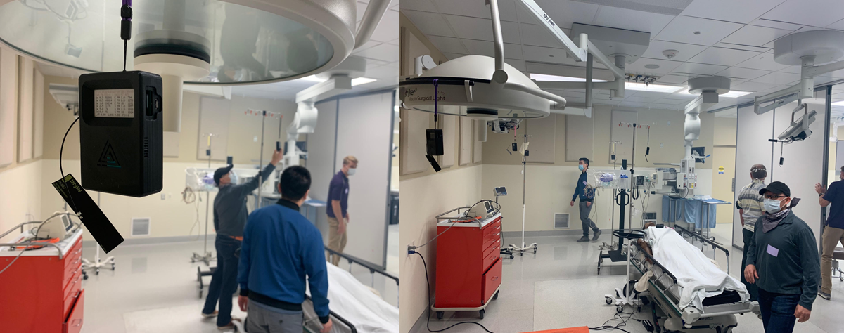Two images side by side of four researchers setting up air sensors in a simulated operating room.