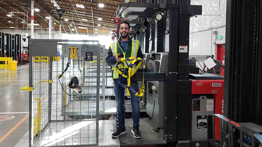DEOHS graduate Hamzah El-Himri on the job as a site safety manager at Amazon. Photo: Courtesy of El-Himri.