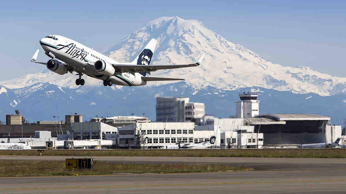 Jet taking off at SeaTac International Airport.