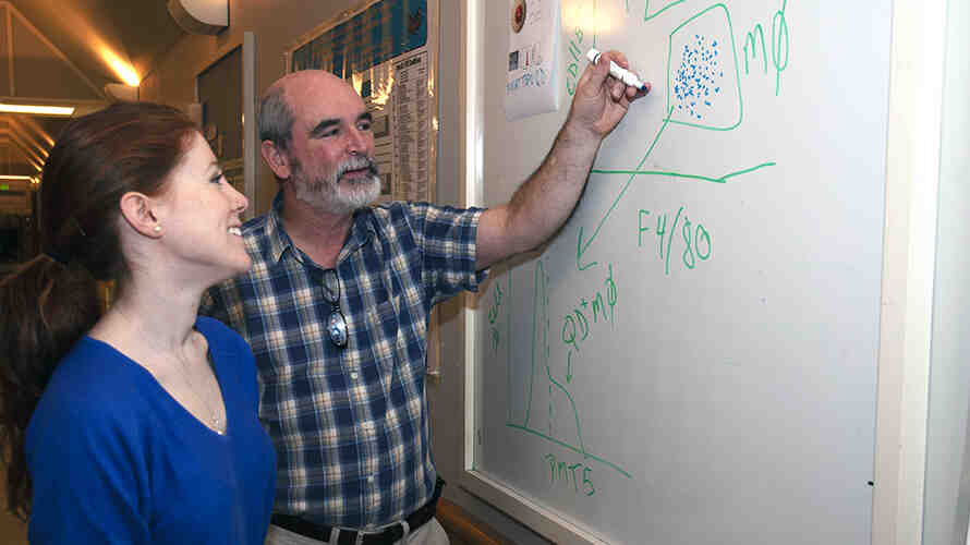 Professor Terrance Kavanagh writes on a whiteboard as a student watches.