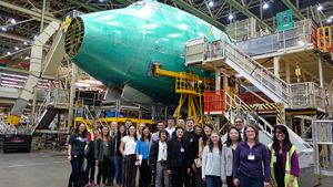 Students touring a boeing plant.