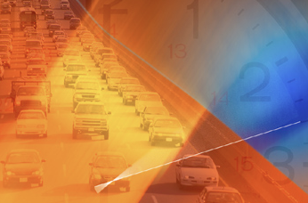 Illustration of heavy traffic on a roadway.