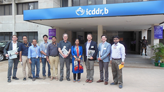 UW TB delegation and icddr,b researchers outside of the hospital in Dhaka, Bangladesh