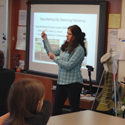 Jill Falman presents to a group of students