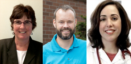 Headshots of Nancy Simcox, Scott Meshke, and Rosemarie Fernandez
