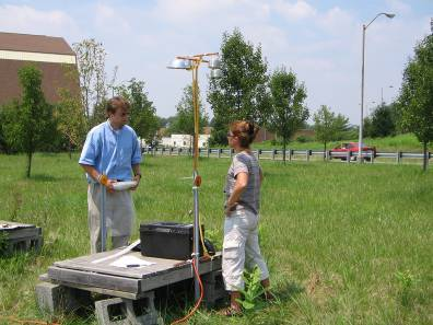 Two field researchers with an outdoor setup