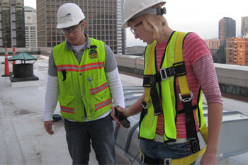 Two students on a construction site