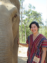 Sara Mar standing with an elephant.  Photo courtesy of Sara Mar.