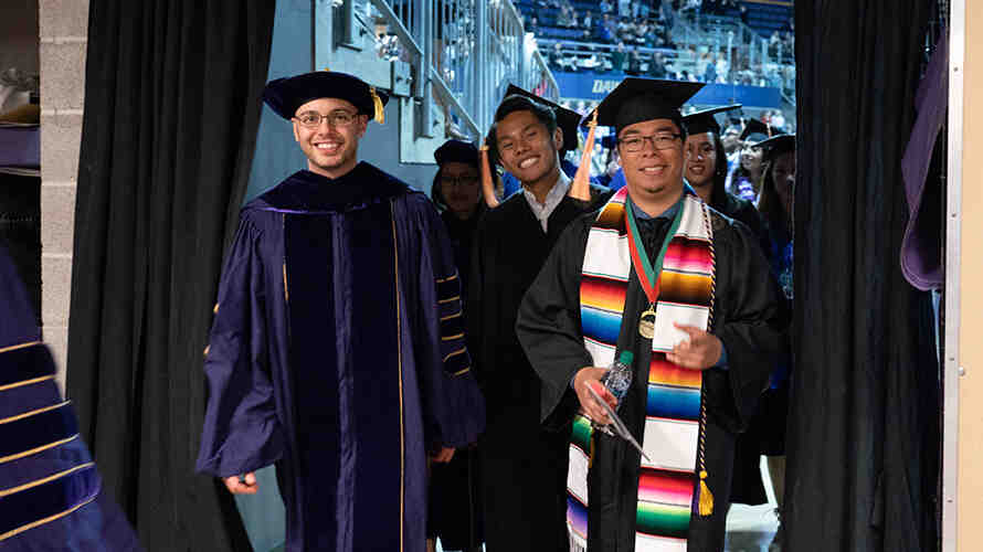 Students exiting the stadium after the SPH graduation ceremony.