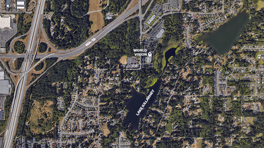 Google satelitte screenshot of Lake Killarney with World Vision's headquarters labelled.