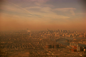 View of a city covered in smog.