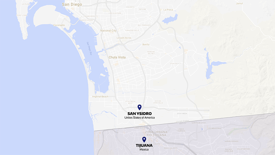 Google map screenshot highlighting San Ysidro in the United States and Tijuana in Mexico on the map.