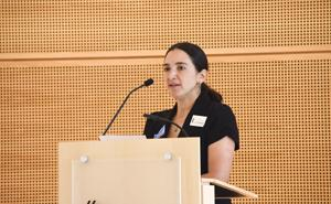 Rebecca Saldaña giving the keynote presentation