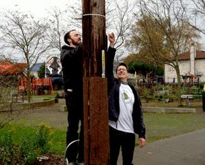 Researchers hang air monitors to test for diesel pollution in south Seattle.