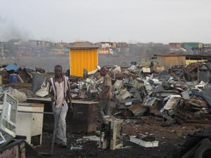 An electronic waste disposal center in Agbogbloshie, Ghana.
