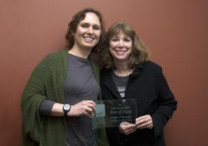 Elizabeth Sharpe and Cathy Swartz with Best in Show Award for the DEOHS 2009-2011 Biennial Report