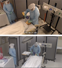 Screenshot from video recording of healthcare simulation.