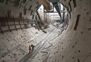 Tunnel that the tunneling device known as Bertha leaves behind.