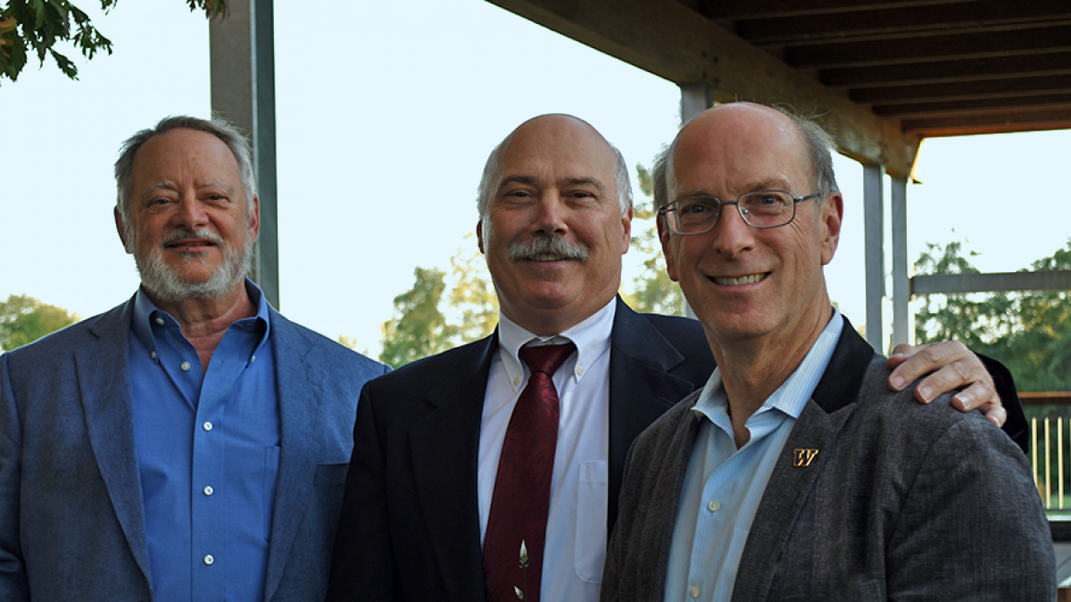 Professor David Eaton, right, pictured with David Kalman and Michael Yost.