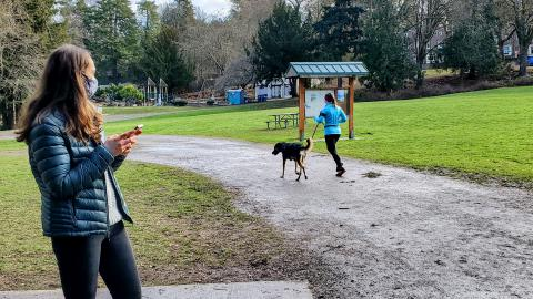 In a park, a woman in a face mask holds a mobile phone while observing a runner with a dog on a leash.