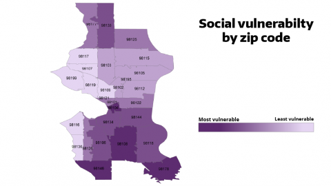 Map of Seattle showing by zip code which areas are most vulnerable to COVID-19