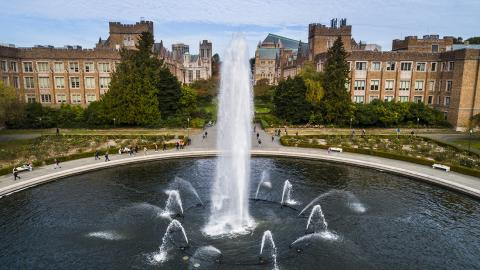 Aerial shot of Drumheller Fountain, UW campus