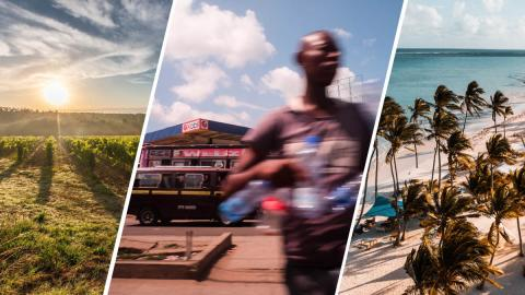 3 part image showing Italian fields, a man in Kenya with water bottles, and a windswept beach in Dominican Republic