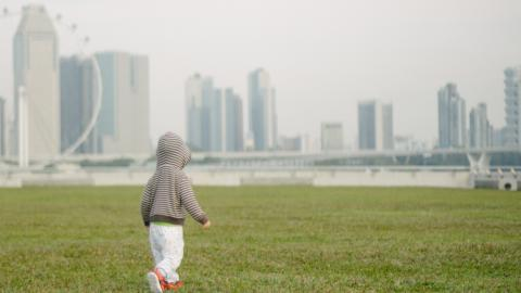 A child walks across a grassy lawn under a smoggy sky.