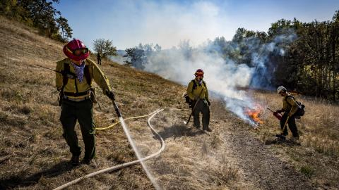 Three people in hard hats work on a hillside with a small fire burning, one spraying water from a hose.
