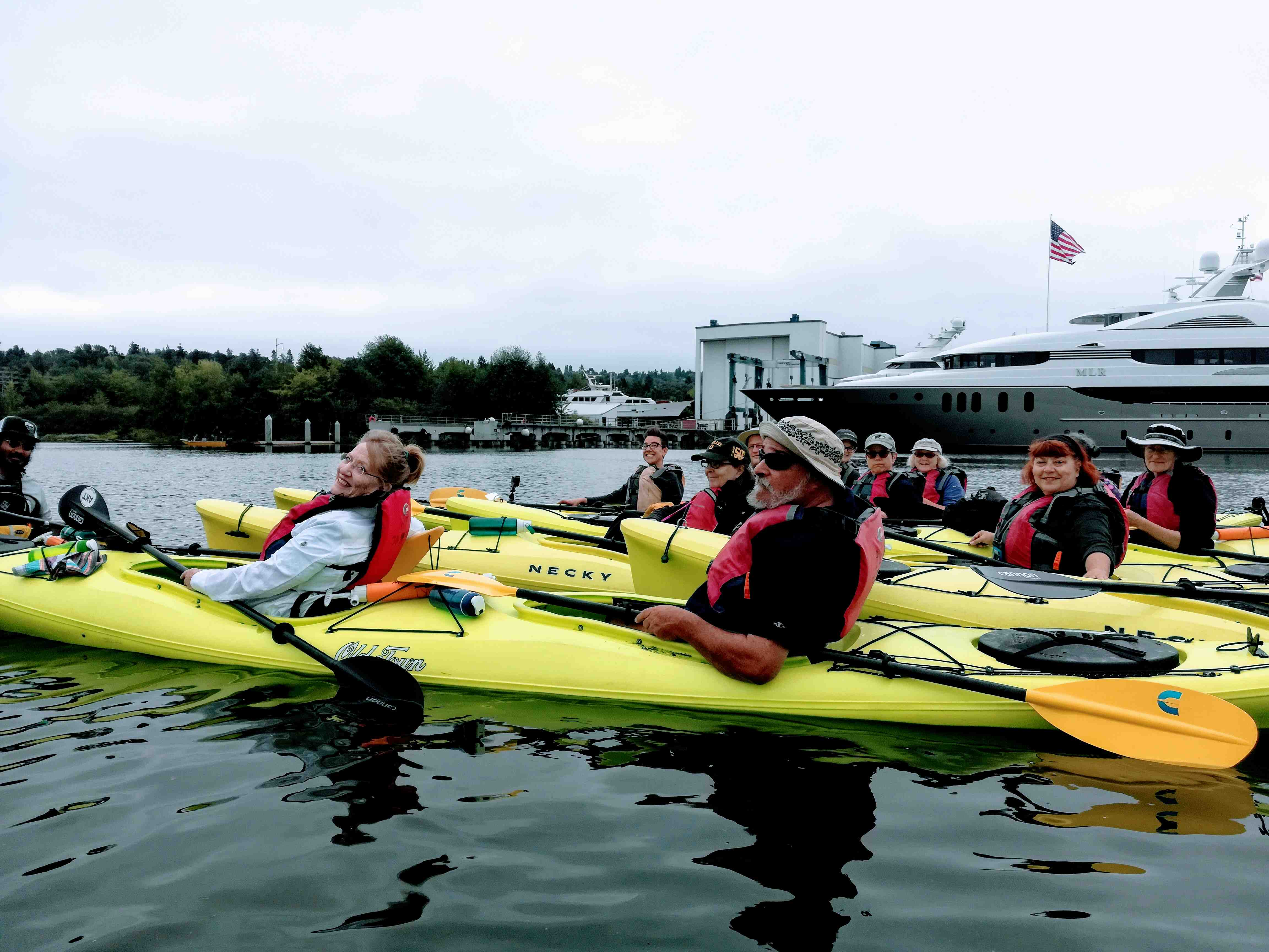 Kayakers in front of Delta Marine (zero discharge shipyard) and mouth of daylighted Hamm Creek