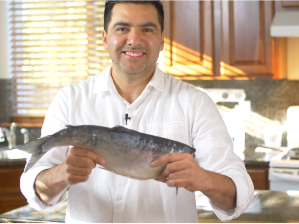 chef with salmon